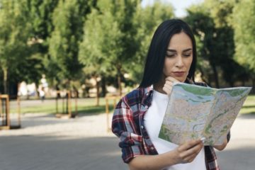Picture of girl with map