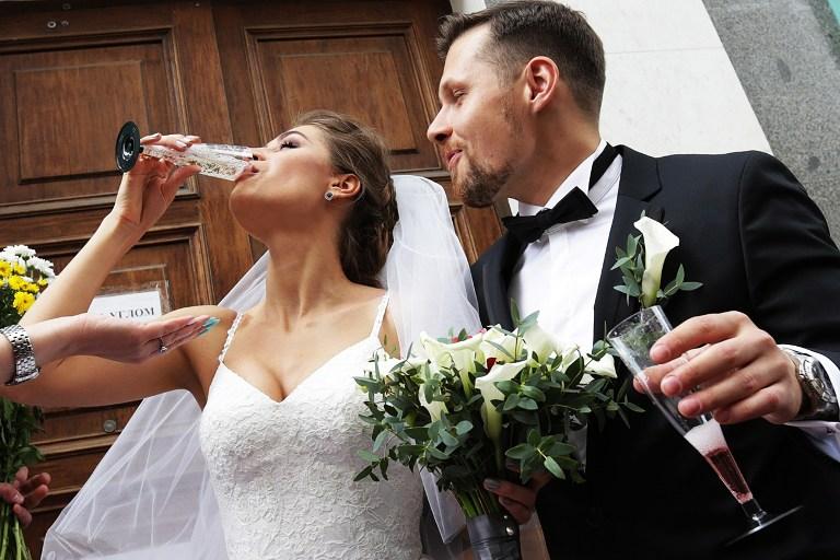 Smashing glasses at a Russian wedding